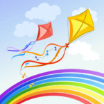 kite with rainbow and clouds. vector illustration